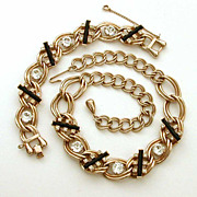 Chain Necklace Bracelet Long Black & Large Clear Rhinestones