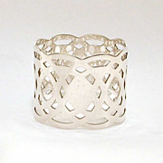 Sterling Napkin Ring Wide Pierced Lacy Design