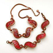 Rebajes Signed Red Enamel Copper Necklace & Bracelet