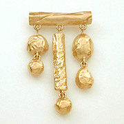 Givenchy Brushed Gold Tone Dangle Pin