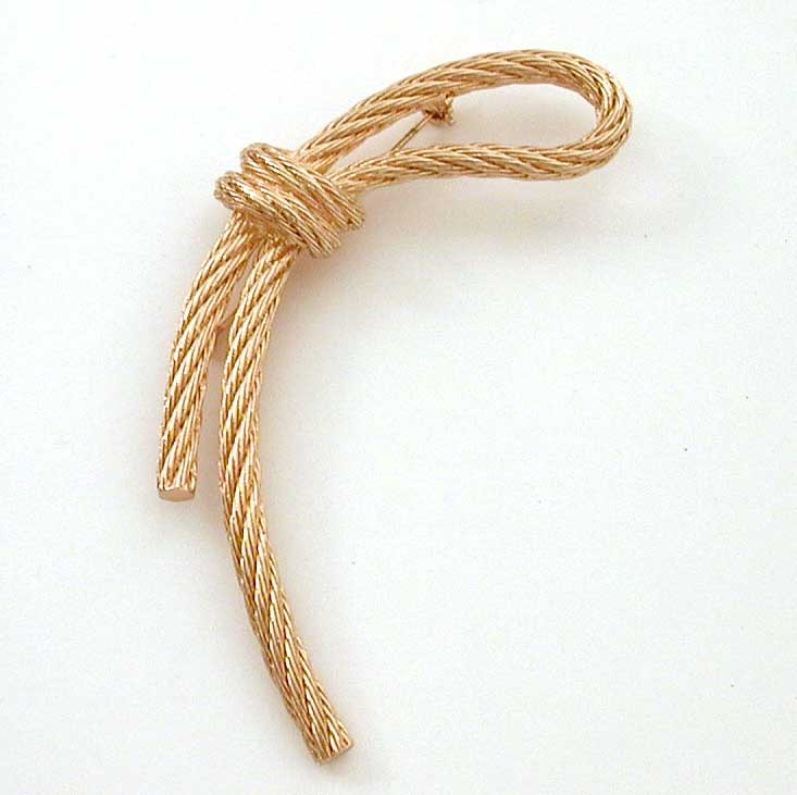 Christian Dior Gold Tone Knotted Rope Pin
