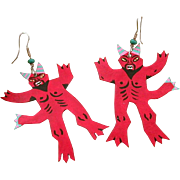 Painted Tin Red Devil Pierced Earrings, Dia de los Muertos, Vintage Hand Made Day of the Dead