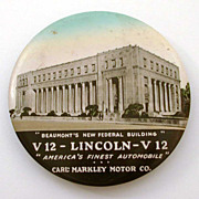 "3.5"" Cruver Celluloid Mirror Beaumont Texas Lincoln V12 Auto Advertising & Federal Building"