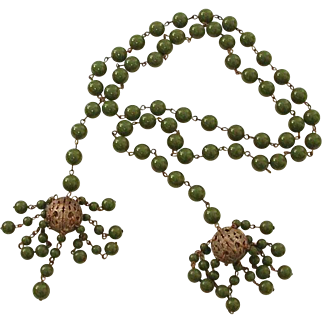 Green Bakelite Color Bead Lariat Necklace with Brass Filigree Beads, Wrap or Tie Beaded Vintage Plastic