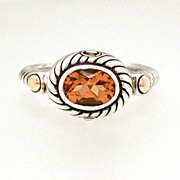 Designer Samuel B Sterling 18k Gold Citrine Ring Size 7