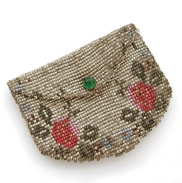Antique Aluminum Beaded Coin Purse Doll Size 2.5""