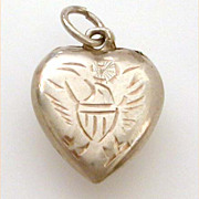 WWII Sweetheart Charm Sterling Puffy Heart Engraved Eagle