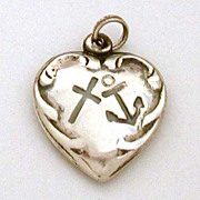 Faith Hope Charity - Vintage Sterling Puffy Heart Bracelet Charm