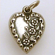 Pretty 1940's Sterling Puffy Heart Charm Forget Me Not Flowers Blooming Up the Side