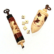 Miniature Carved Bone Dice Die in Umbrella Parasol & Plumb Bob Toy Top Box Charms Fobs - Red Tag Sale Item