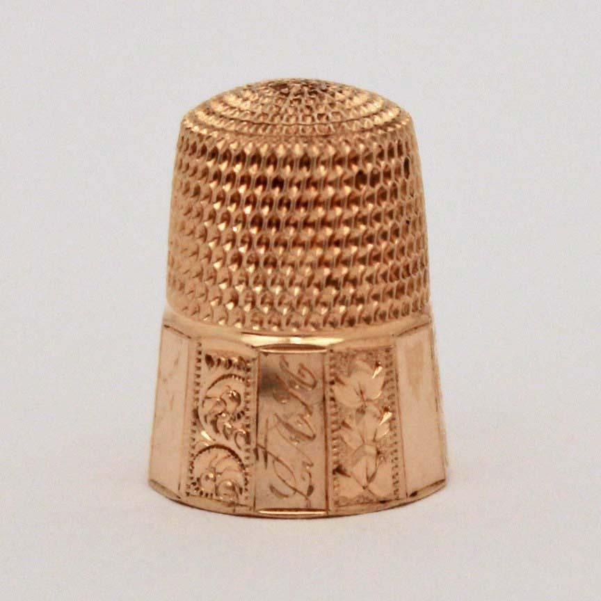 14k Gold Child Size Engraved Panel Paneled Thimble by Simons Bros