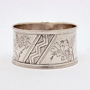 Victorian Aesthetic Sterling Napkin Ring Bright Cut Engraving 1882 Sheffield