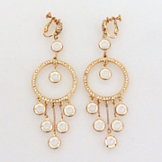 "4"" Shoulder Duster Earrings Collet Set Clear Crystal Dangles"