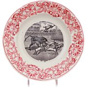 French Transferware Plate LES CHIENS Dog & Bull Fight by Gien