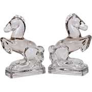 1940s Glass Rearing Horse Bookends by LE Smith - Glass Sculpture