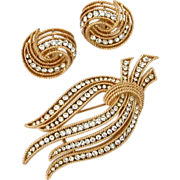 Vintage Trifari Pin & Earrings Set in Twisted Textured Gold Tone with Rows of Clear Chaton Rhinestones