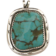 Navajo Turquoise Sterling Pendant - Stone Chunk and Classic Native American Indian Silver Stampings