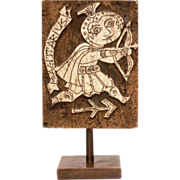 Mid-Century Modern Carved Travertine Marble Sagittarius Zodiac Sculpture Signed illi Inc. - Astrology, Zodiac - Table or Bookshelf Art