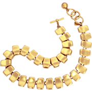 Anne Klein Necklace Matte Brushed Gold Tone Links with Toggle Clasp Designer Signed Jewelry