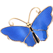 David Andersen Gilded Sterling Blue Enamel Butterfly Pin - Vintage Norway Brooch with C Clasp