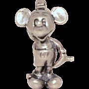Vintage Mickey Mouse Sterling Charm Walt Disney Productions - Silver Bracelet Charm - Disneyland Souvenir