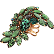 Juliana D&E Brooch Delizza and Elster Pin Green Foiled Navette Rhinestones, Green and Black Speckled Cabochon with Gold Tone Wire Details