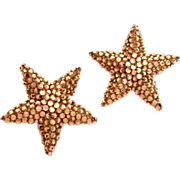 1980s Richard Kerr Star Earrings Bright Bronze Color Rhinestone Encrusted