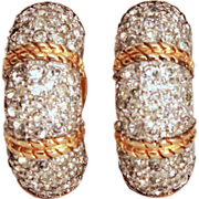 Signed Joseph Mazer Colorless Pave Rhinestone Huggie Style Clip Earrings with Twisted Gold Tone Rope Details