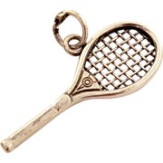 Vintage Tennis Racket Charm or Pendant Signed JMF - Detailed and Sturdy Estate Jewel