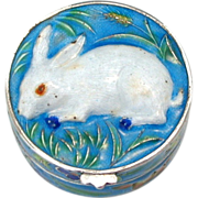 Chinese Enamel Silver Bunny Rabbit Small Pill or Trinket Box - Pillbox Enameled Blue & White