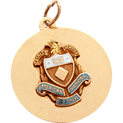 14k Gold American National Bank 5 Year Service Pin Style Charm or Pendant Award Blue & White Enamel