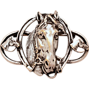 "Horse & Horseshoe Equestrian Theme Vintage Silverplate Pin - Large 2 3/4"" Silver Plated Brooch"