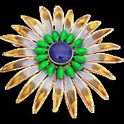 """Retro Vendome Enamel Flower Star Burst Pin Large at 3"""""""