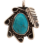 Navajo Sterling Turquoise Leaf & Swirl Design Pendant, Native American Jewelry