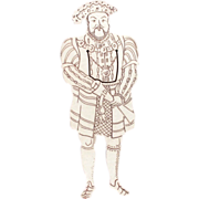 "5.5"" Sterling Bookmark Full Figure King Henry VIII"