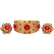 Joseph Mazer Maharanee Gold Tone Glass Ruby Sapphire & Diamond Rhinestones Moghul Style Bangle Bracelet Earrings Jomaz