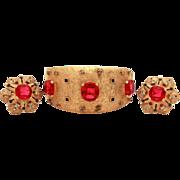 Joseph Mazer Maharanee Gold Tone Glass Ruby Sapphire & Diamond Rhinestones Moghul Style Bangle Bracelet Earrings Jomaz