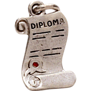 Sterling Graduation Diploma Bracelet Charm with Red Enamel Seal for High School College Graduate