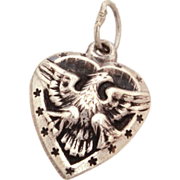 WWII Sweetheart Sterling Puffy Heart Bracelet Charm Patriotic American Eagle & Stars Vintage 1940's