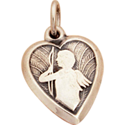 "1940's Cupid Silhouette on Feather Background Sterling Puffy Heart Bracelet Charm Engraved ""Stella"""