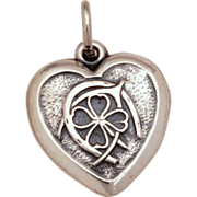 RESERVED 1940's Lucky Sterling Puffy Heart Charm Good Luck 4 Leaf Clover, Horseshoe, Wishbone Vintage Bracelet Charm