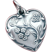 Forget Me Not Flowers Blooming on 1940's Romantic Sterling Puffy Heart Charm