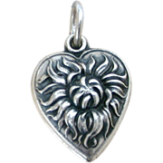 Old Fashioned Shaggy Mum 1940's Sterling Puffy Heart Charm Chrysanthemum, Pom Pom Flower Engraved Wydette