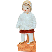 1800's Germany Porcelain Figurine Little Girl in Winter Jacket, Cap, and Scarf - Antique German