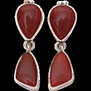 Deep Rust Red Carnelian Stone in Sterling Dangle Earrings - Designer Signed Tommy