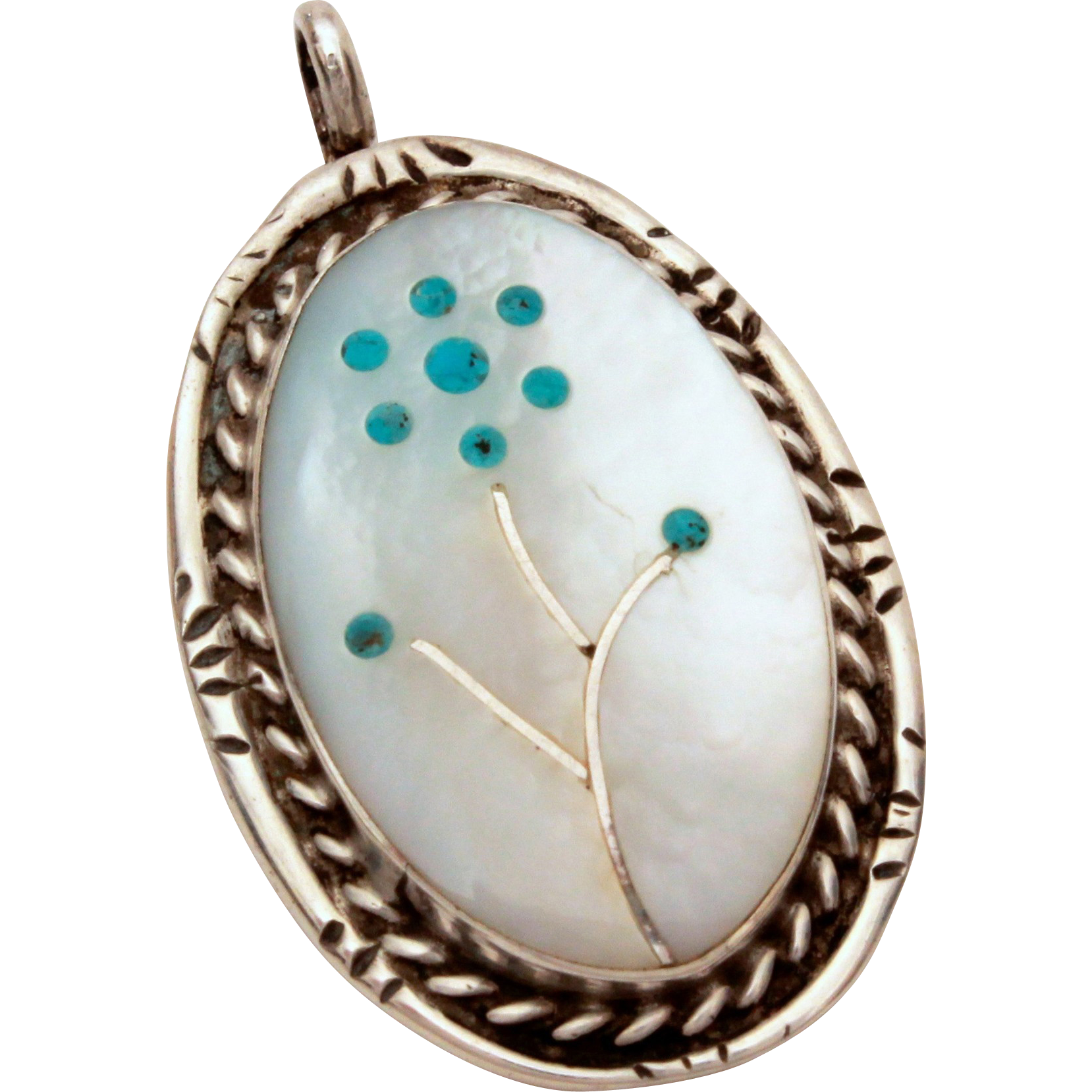 zuni native american sterling pendant mother of pearl mop