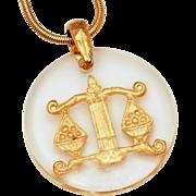 Libra Zodiac Symbol Lucite Encased Pendant, Gold Tone Snake Chain Necklace