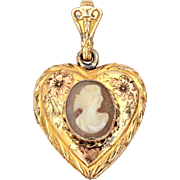Sterling Gold Filled Heart Locket Carved Shell Cameo