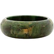 Hefty Bakelite Bangle Bracelet Creamed Spinach, Green & Yellow