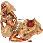 HAR Genie Pin Crystal Ball, Fish Bowl, Hargo Creations of New York, Far Eastern Series 1959 Sorceress Cleopatra Brooch